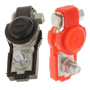 2x Universal Car Adjustable Battery Terminal Clamp Clips Negative Positive Top