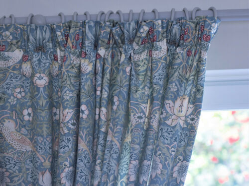 William Morris Strawberry Thief Fully Lined Curtains /& Tie Backs In Slate