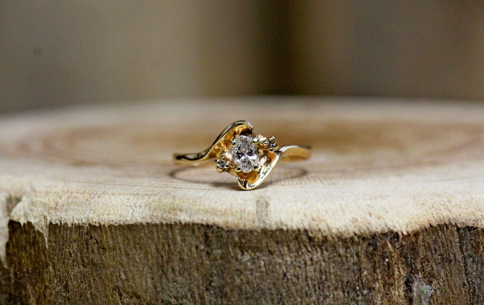 10Kt Yellow gold Diamond Ring Size 6.5