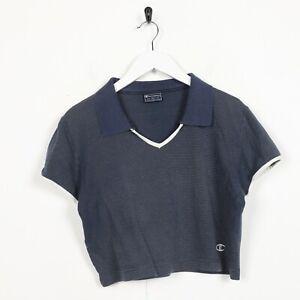 Vintage-Femme-CHAMPION-petit-logo-rayures-Cropped-T-Shirt-Tee-Bleu-XL
