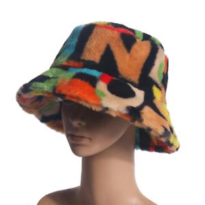 Rainbow Faux Fur Bucket Hat Women Winter Soft Warm Outdoor Fisherman Hats Cap UK