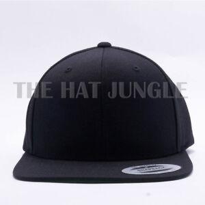 Image is loading Yupoong-Snapback-Hat-Plain-6089M-Premium-Classic-Flexfit- fa8b703239b4