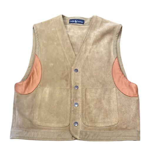 Vintage Ralph Lauren Men's Button Up Leather Vest