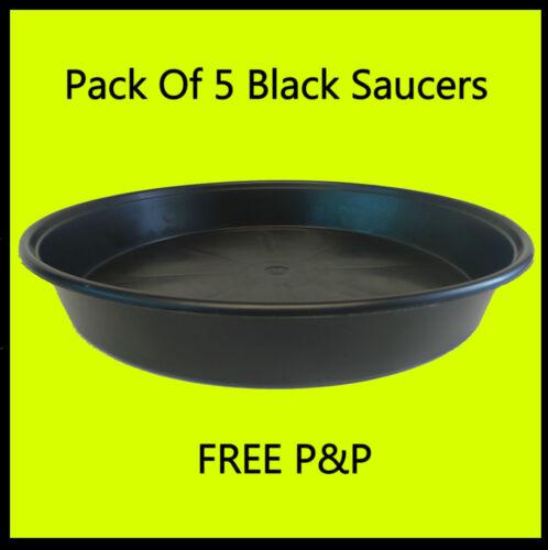 Pack of 5 18cm Black Plastic Plant Saucers For Under Round Plant Pots
