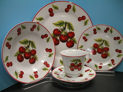 20 Pc RED CHERRY Dinner set plates dishes cherries Kitchen Decor home dinnerware