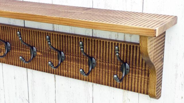 Solid wood Striped Hat&Coat Rack with shelf and cast iron hooks, Dark oak finish