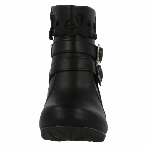SALE Girls spot on black and tan boots H4105