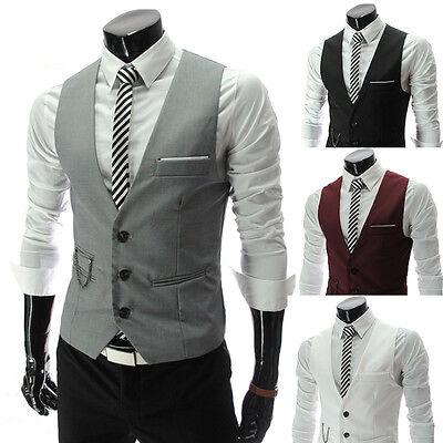 Gentalmen Men's Slim Fit Suit Vest Set Formal Dress Tuxedo Vest Waistcoat Tops