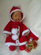 *06~Carol Ann Designs Baby Born Size Doll 4 Piece Girl Christmas Knit Pattern