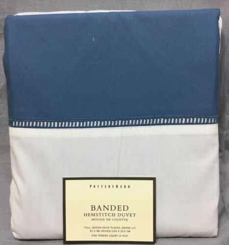 Pottery Barn Cornflower Blue Banded Hemstitch Full//Queen Duvet Cover