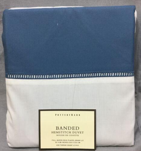 Pottery Barn Cornflower Blue Banded Hemstitch Full//Queen Duvet Cover