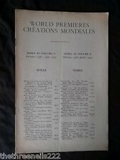 INTERNATIONAL THEATRE INSTITUTE WORLD PREMIER - INDEX TO VOL 10 OCT 1958 to JULY