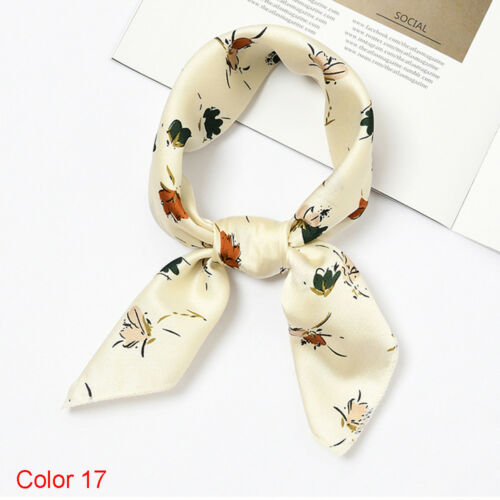 Vintage Elegant Silk Feel Satin Head Neck Hair Tie Band Women Square Scarf