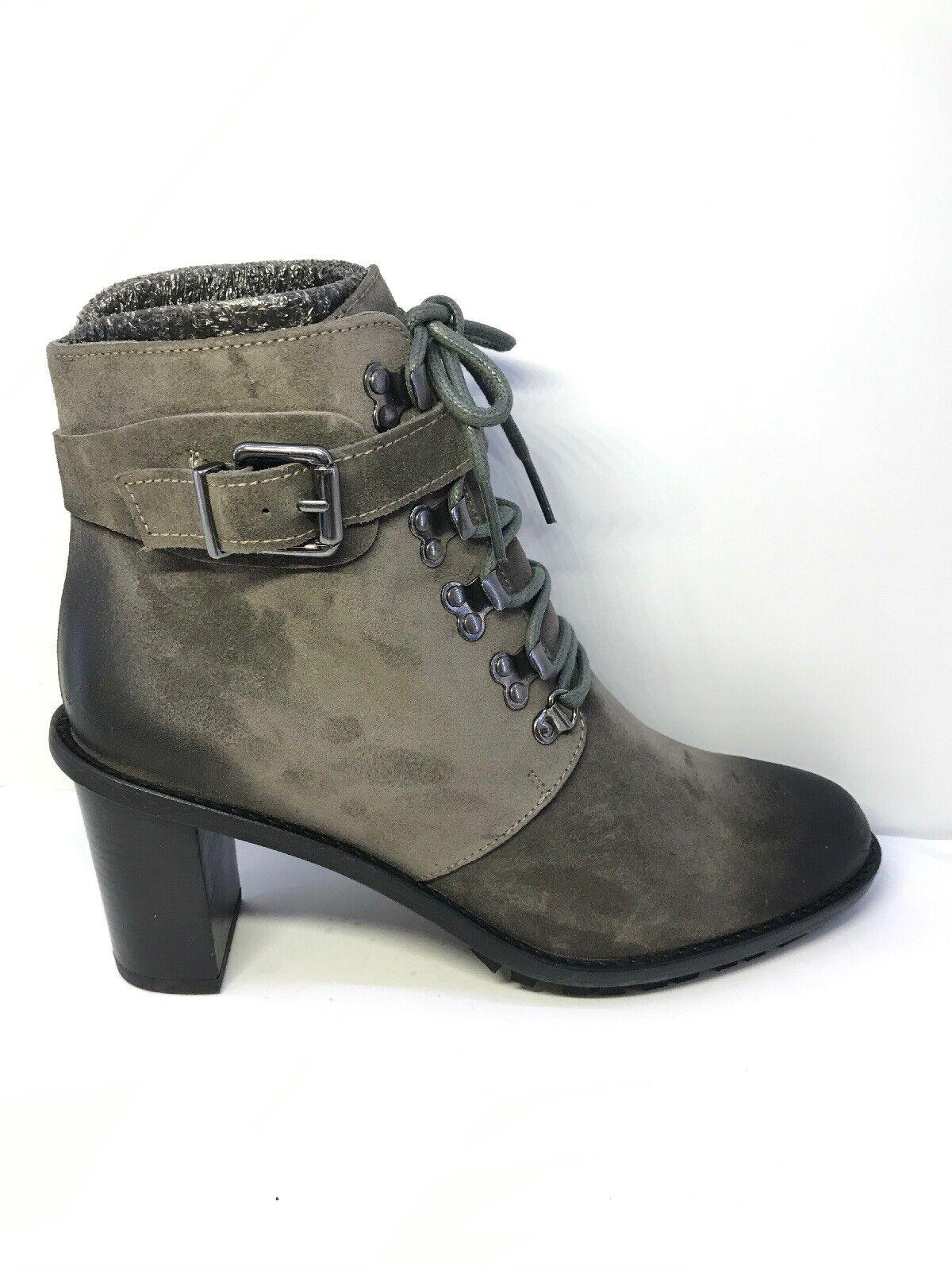 B 0197 Lloyd Germany Womens Grey Block Heeled Lace Up Boots Size EU 39.5
