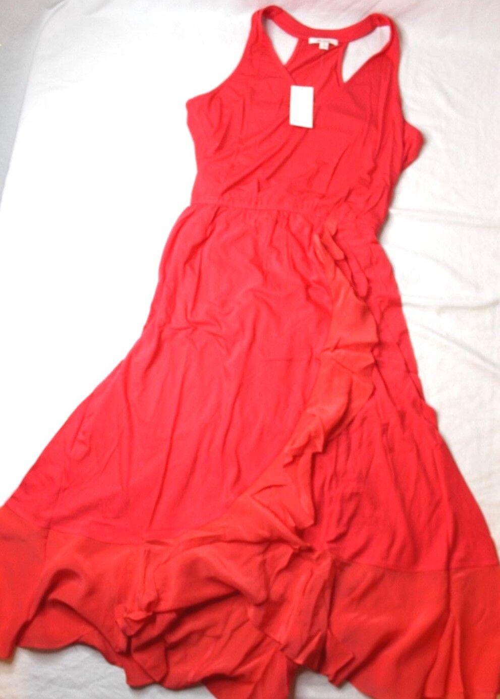 Ella moss Woherren Bella Sleeveless Ruffle-Skirt Midi Dress Rosa Medium M New NWT