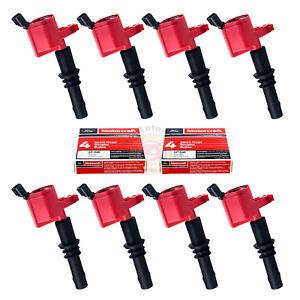 Set-of-8-Red-Ignition-Coils-DG511-Motorcraft-Spark-Plug-SP515-SP546-For-Ford