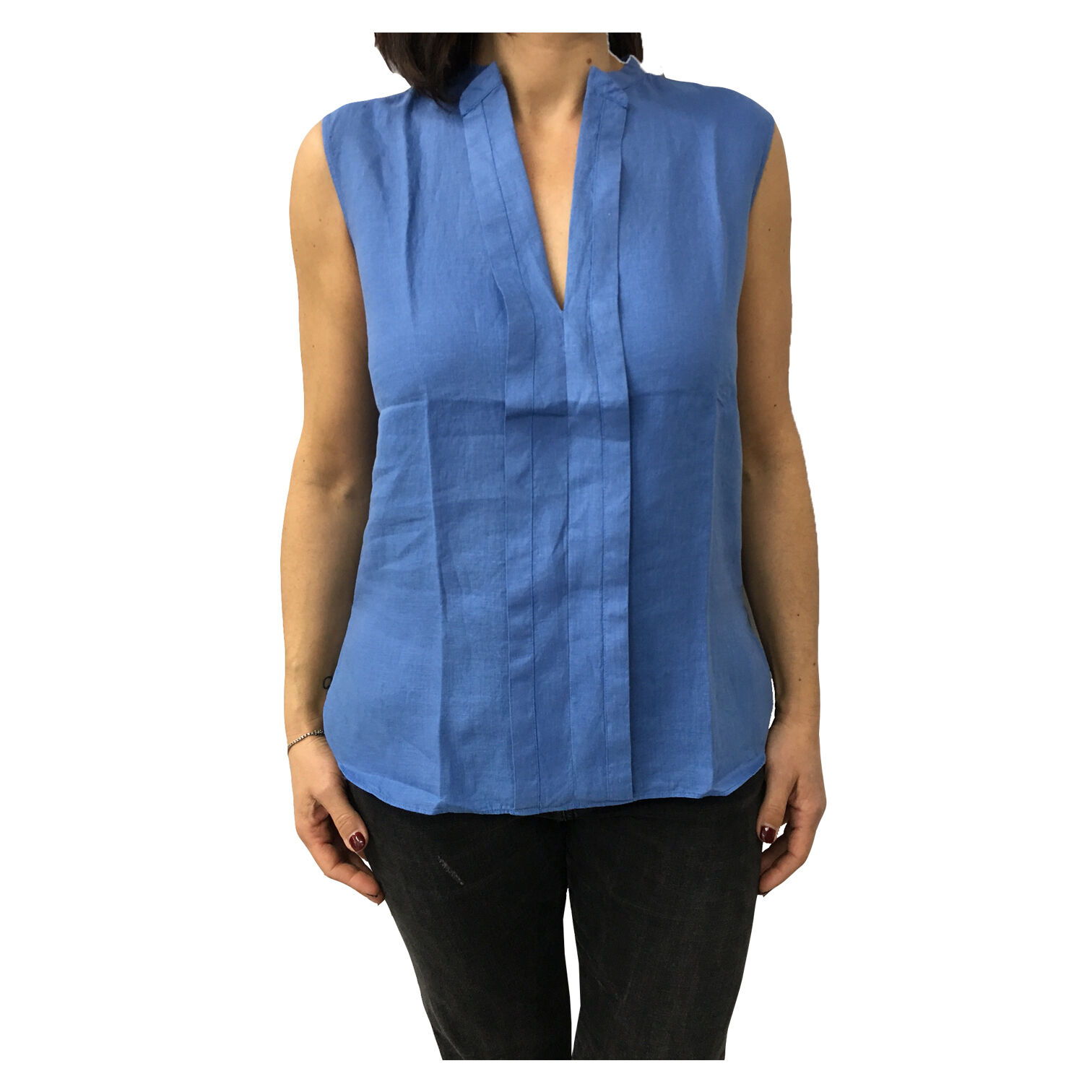 ASPESI damen shirt sleeveless Blau mod H805 C195 100%linen fit regular