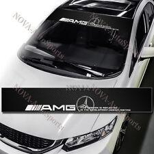 Windshield Carbon Fiber Banner Decal Sticker For Mercedes C E SLK CLS ML GL AMG