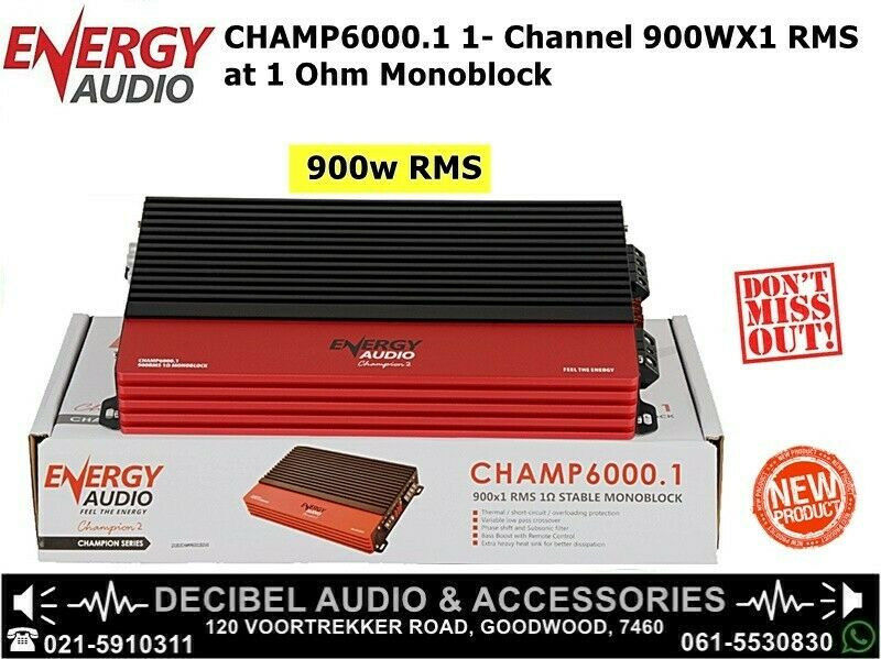 Energy Audio CHAMP6000.1 1- Channel 900WX1 RMS at 1 Ohm Monoblock
