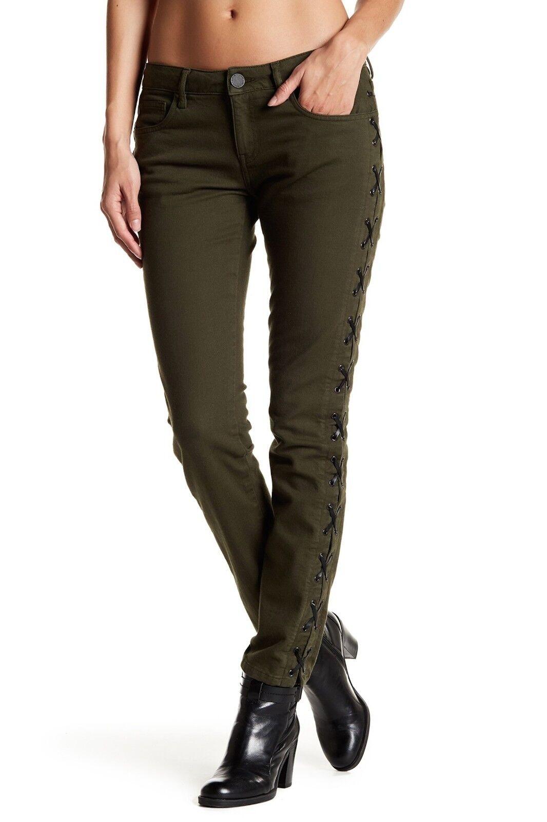 Etienne Marcel Lace-Up Skinny Jean Military Green Denim Sz 28  218 NWT EM7374
