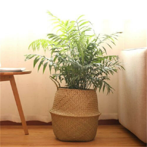 Basket Rattan Folding Wicker Handle Round Natural Sea Grass Plant Storage Woo Lq