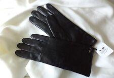 COACH Signature Black Lambskin Merino Wool Gloves Size 6.5 Coach Hardware NWT