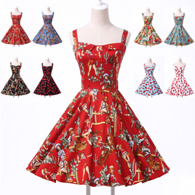 Vintage Retro Swing 50s 60s pinup Dresses prom vestido Pin Up Dress