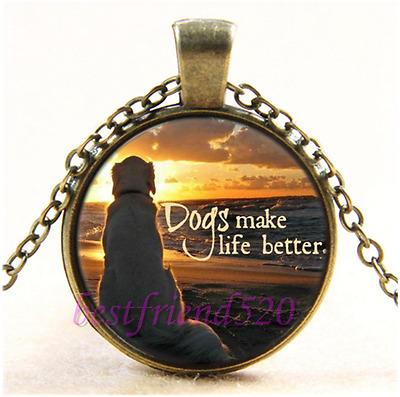 Vintage Dog make life better Cabochon Glass Bronze Chain Pendant Necklace#1I0