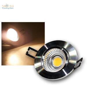 LED-Einbaustrahler-warmweiss-5W-COB-Aluminium-poliert-230V-Spot-Einbauleuchte