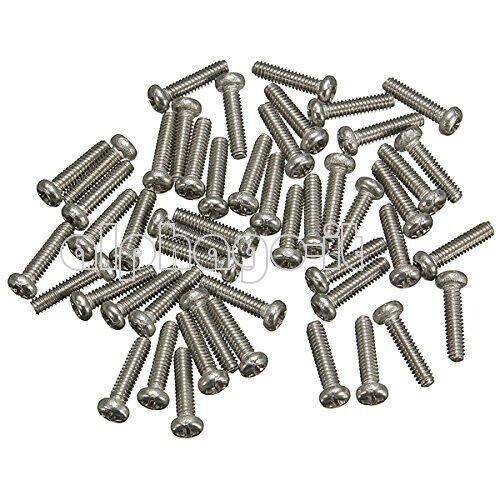 50 M2X6mm Screws Stainless Steel Round Head Plain End Phillips Metric Machine N