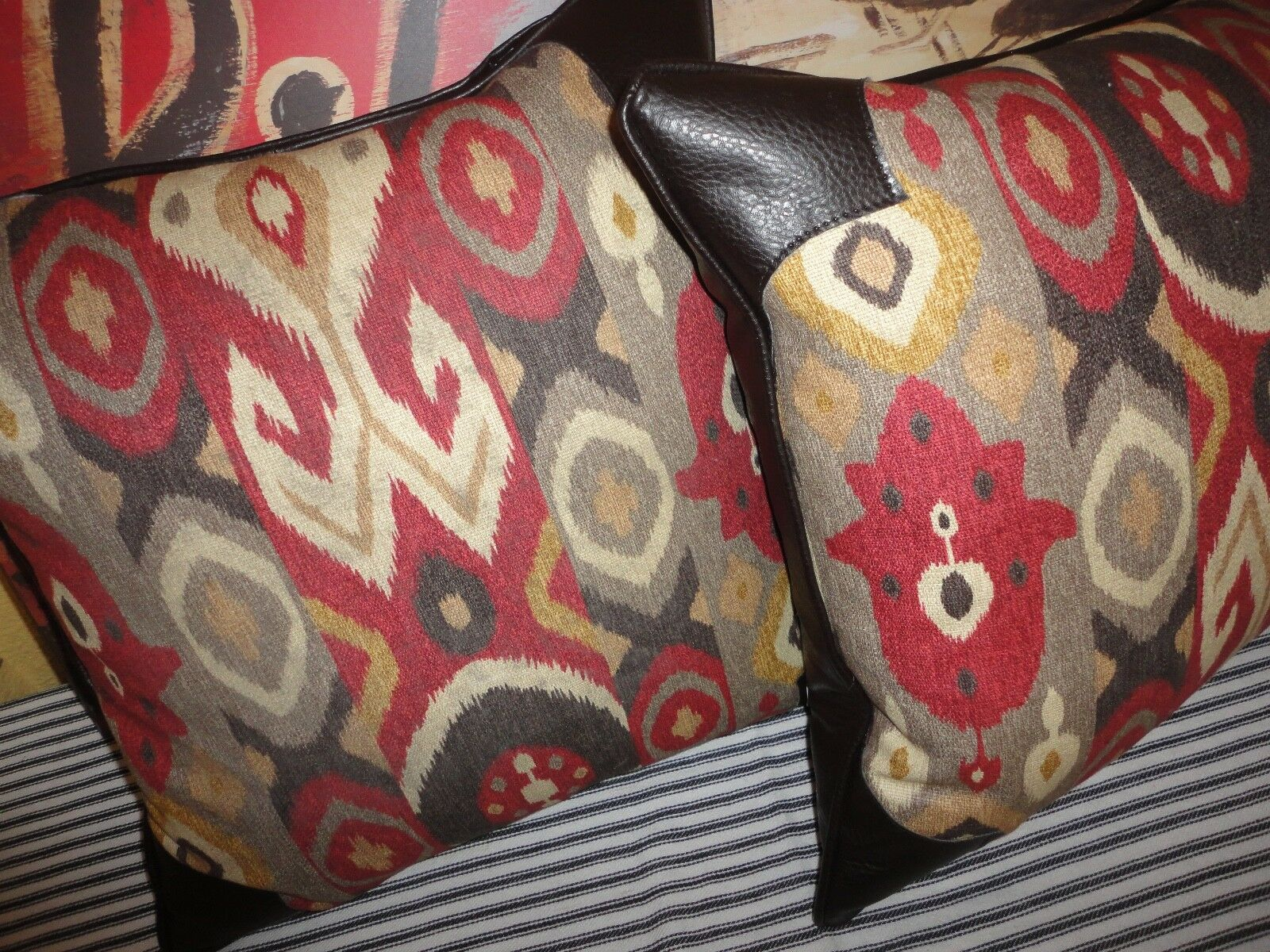 marron IKAT or rouge BEIGE FAUX LEATHER (PAIR) ZIPPErouge THROW PILLOWS 18 X 18