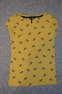 Girls-NEXT-Mustard-Yellow-Coloured-Top-with-Zebras-T-shirt-Age-7-years-122-cms