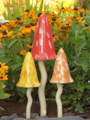 Ceramic Toadstools fairy garden Tinkling  Mushrooms Garden Ornaments PS1014