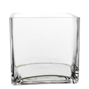 Contemporary-Modern-Clear-Medium-Square-Cube-Shape-Candle-Flower-Glass-Vase-6-034