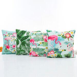 Kissenbezug-Satin-Optik-Flamingo-Summer-Vogel-Palmen-45x45cm-mit-Reissverschluss