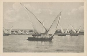 EGYPT-ca-1910-superb-mint-postcard-Boats-on-the-Nile-Castr-Brothers-Cairo
