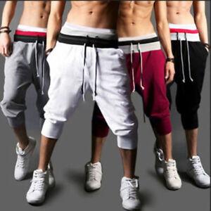 Mens-3-4-Knee-Jogger-Casual-Trousers-Shorts-Sport-Pants-Harem-Baggy-Sweatpants
