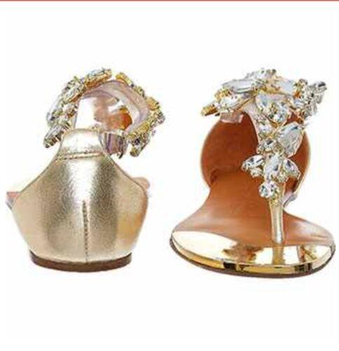 tono taglia oro Nuovi moda 3uk In impreziositi sandali Pelle 6qwPxPEz