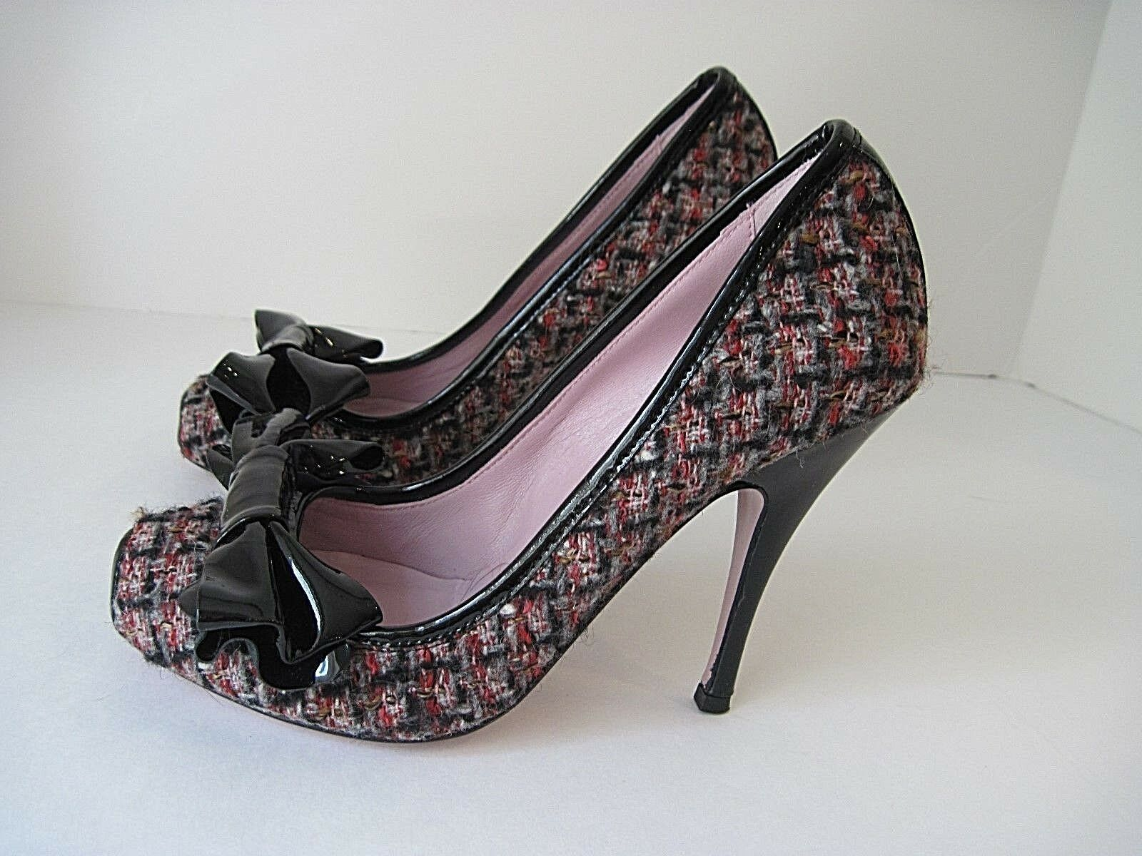 l'ultimo RED VALENTINO Sexy Multicolored Tweed nero Patent Leather Front Bow Bow Bow Trim Sz. 37  migliore vendita