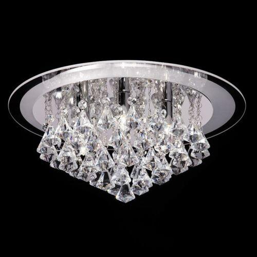 Renner 6 LT cristal transparent gouttes semi-encastré plafonnier chrome poli 33 W