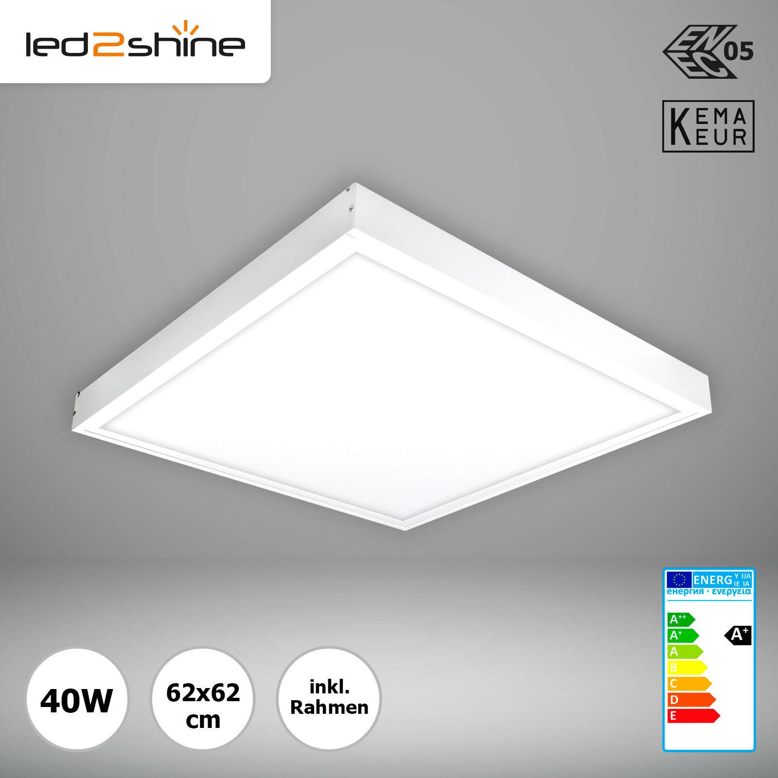LED lámpara de techo regulable la luz del día sabe 6000k LED Panel 62x62 40w + aufputzrahmen