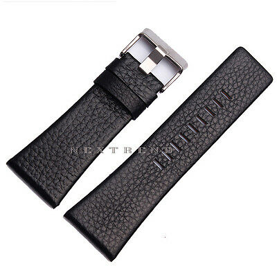 High Quality Black Genuine Leather Watch Band Fits Diesel Watch 22mm~30mm