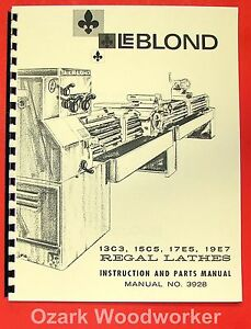 LEBLOND 13C3 15C5 19E7 Lathe Operator Parts Manual 0429 17E5