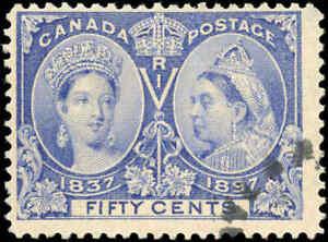 1897-Used-Canada-50c-F-Scott-60-Diamond-Jubilee-Stamp