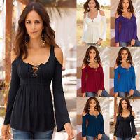Plus Size Sexy Women Slim Blouse Long Sleeve Off Shoulder V-Neck T-shirt Tops
