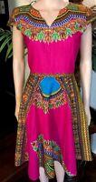Lady Mia's Of Africa Medium Women's African Dress Pink 100% Wax Cotton 36 Bust