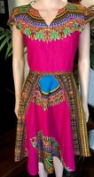 Lady Mia's Of Africa Medium Women's African Dress Pink 100% Wax Cotton 36 Bust