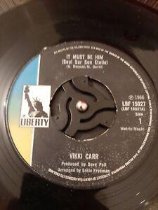 Vikki-Carr-It-Must-Be-Him-Vinyl-7-034-Jukebox-Single-UK-Liberty-LBF-15027-1967