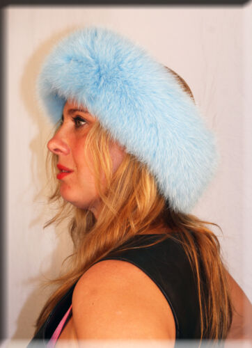 New Baby Blue Fox Fur Headband 26 Inches Long and 5 Inches Wide Efurs4less
