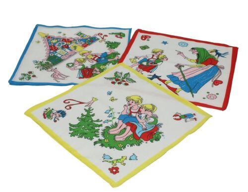 Lot de 12 mouchoirs pour enfant à motif féerique Jeannot et Margot 26 x 26 cm en